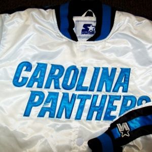 CAROLINA PANTHERS Starter Snap Down Jacket WHITE
